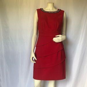 Cherry Red Cocktail Dress w/Diamond Beading